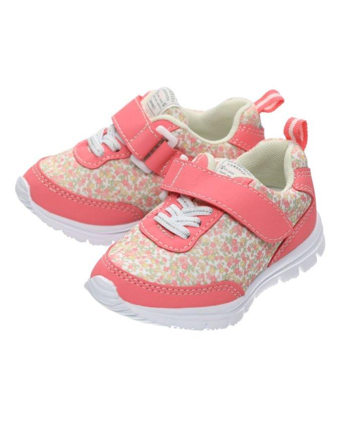 こどもの森 Kids Foret (キッズフォーレ) 花柄・星柄ジョギングシューズ・スニーカー・靴 15cm〜19cm キッズ レッド 15 【KODOMONOMORI】