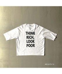 RM STORE/ファインコットン プリント七分袖Tシャツ THINK RICH/503509552