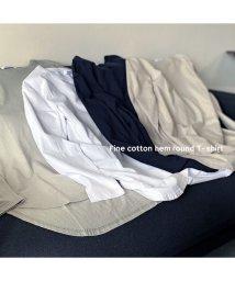 RM STORE/ファインコットン 裾ラウンドサイドスリット長袖Tシャツ ロンT/503509553