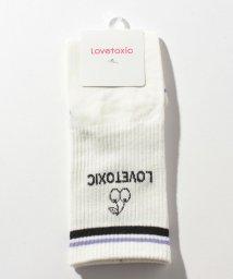Lovetoxic/バックロゴチェリーリブクルーソックス/503500064