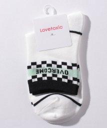 Lovetoxic/ライン入りチェッカーロゴクルーソックス/503506474