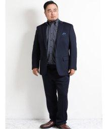 GRAND-BACK/【秋の新作】【大きいサイズ】レノマオム/renoma HOMME ニットジャガード2ボタン2ピーススーツ 紺/503526722