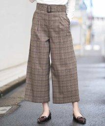 OFUON/【洗濯機で洗える】グレンチェックワイドパンツ/503405006