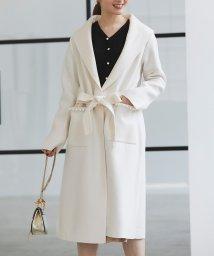 tocco closet luxe/ウエストりぼん付きポケットパール装飾ダブルフェイスコーディガン/503512268