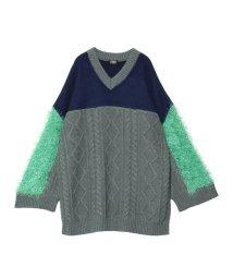 PAMEO POSE/Switching V-neck Sweater/503549847