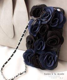 Sawa a la mode/チェーンストラップ付花モチーフの手帳型iPhoneケース/503551773