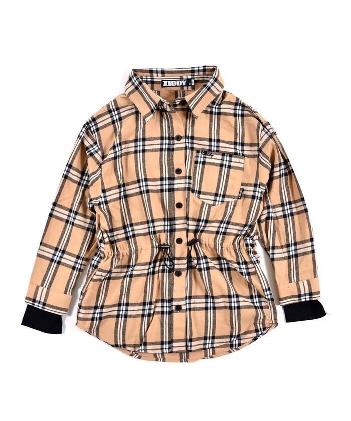 【65%OFF】 ジディー ウエスト絞り チェックシャツ + チャームTシャツ 2点セット(130~160c キッズ ベージュ系 130cm 【ZIDDY】 【セール開催中】