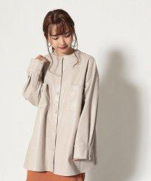 Cheek/フェイクレザーバンドカラーシャツジャケット/503505161