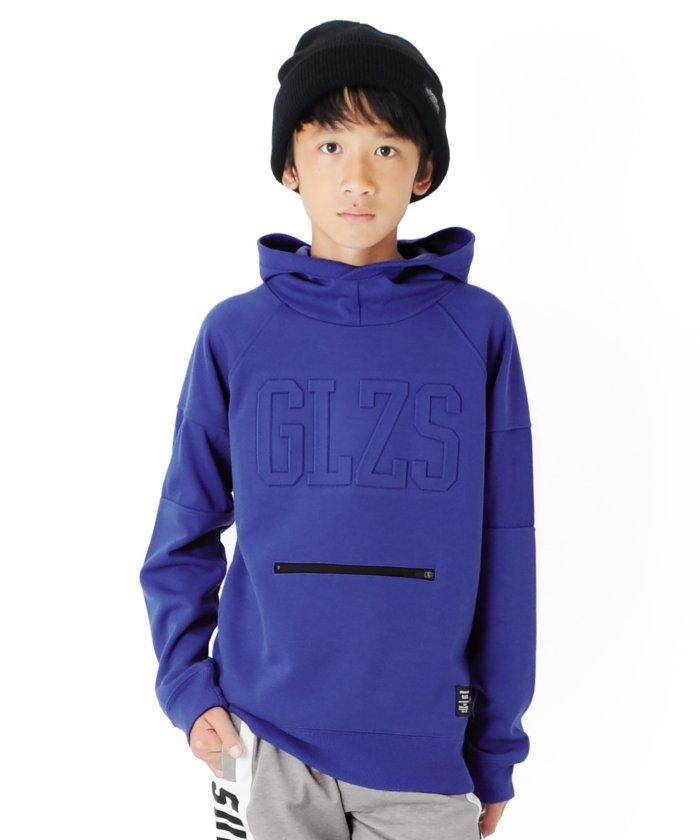 グラソス ダンボール・GLZSロゴラグランフードトレーナー キッズ ブルー 130cm 【GLAZOS】