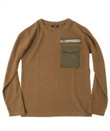 GLAZOS/ワッフル・立体ポケット長袖Tシャツ/503557004