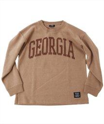 GLAZOS/ダブルフェイス・ドロップショルダーアーチロゴプリント長袖Tシャツ/503557005