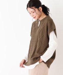 SHOO・LA・RUE DRESKIP/【M-L/2点セット】ケーブルビックニットベスト+長袖Tシャツ/503560498