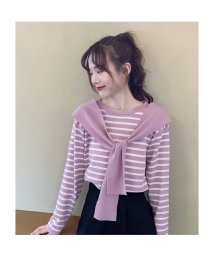 seiheishop/ボーダーTシャツ カットソー レディース 切り替え 長袖 ゆったり かわいい 襟デザイン/503560578
