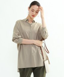 INDIVI/[L]【Lサイズ別注/マシンウォッシュ】グリーンフィルクロスチュニックシャツ/503567009