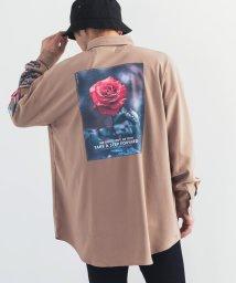 Rocky Monroe/シャツ メンズ レディース 長袖 オーバーサイズ ビッグシルエット ルーズ ゆったり 袖プリント バックプリント ストリート 薔薇 ローズ 9672/503571340