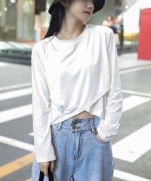 shoppinggo/Tシャツ レディース 長袖 へそ出し ショート丈 トップス 無地 綿 カットソー 薄手 黒 白/503572533