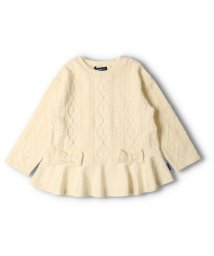 moujonjon/【子供服】 moujonjon (ムージョンジョン) ケーブルジャガード裾フレアTシャツ 80cm~140cm M52850/503573084