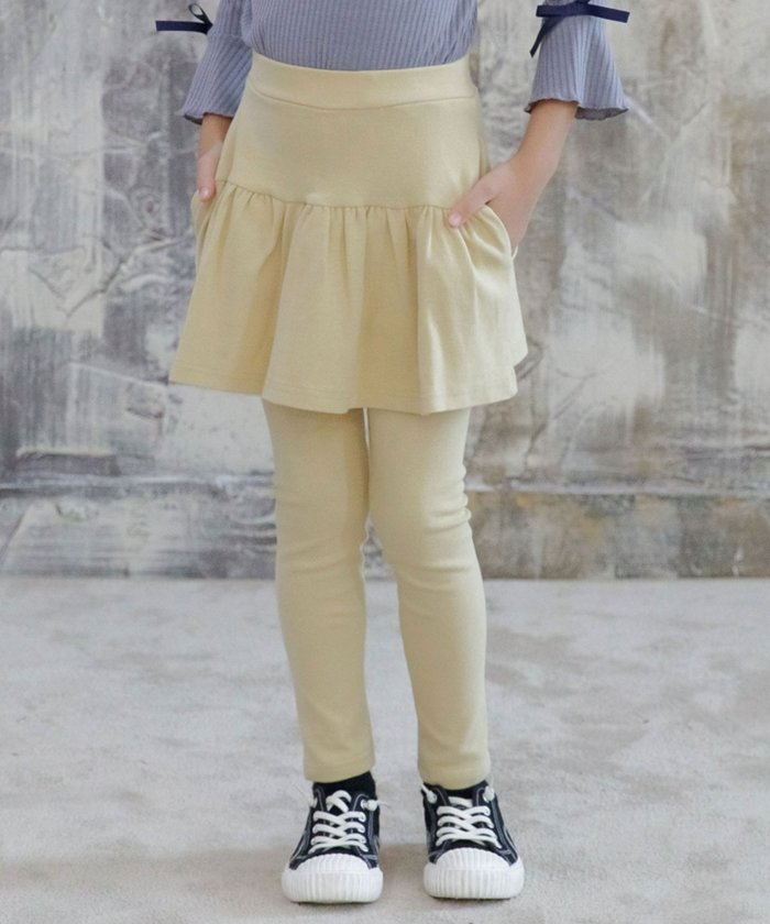【29%OFF】 子供服ビー レギンス付きスカート キッズ ライトブラウン 120cm 【子供服Bee】 【タイムセール開催中】