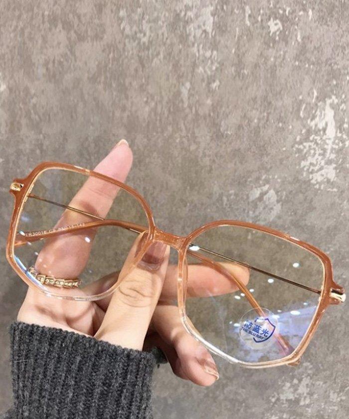 カット メガネ ブルー
