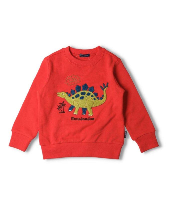こどもの森 moujonjon (ムージョンジョン) 恐竜サガラ刺繍裏毛トレーナー 80cm〜130cm M24601 キッズ レッド 120 【KODOMONOMORI】