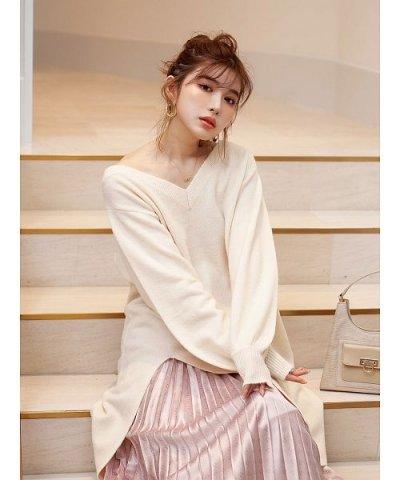 Darich/【MAGASEEK/d fashion別注カラー】レイヤードスリットニットワンピース/503740280