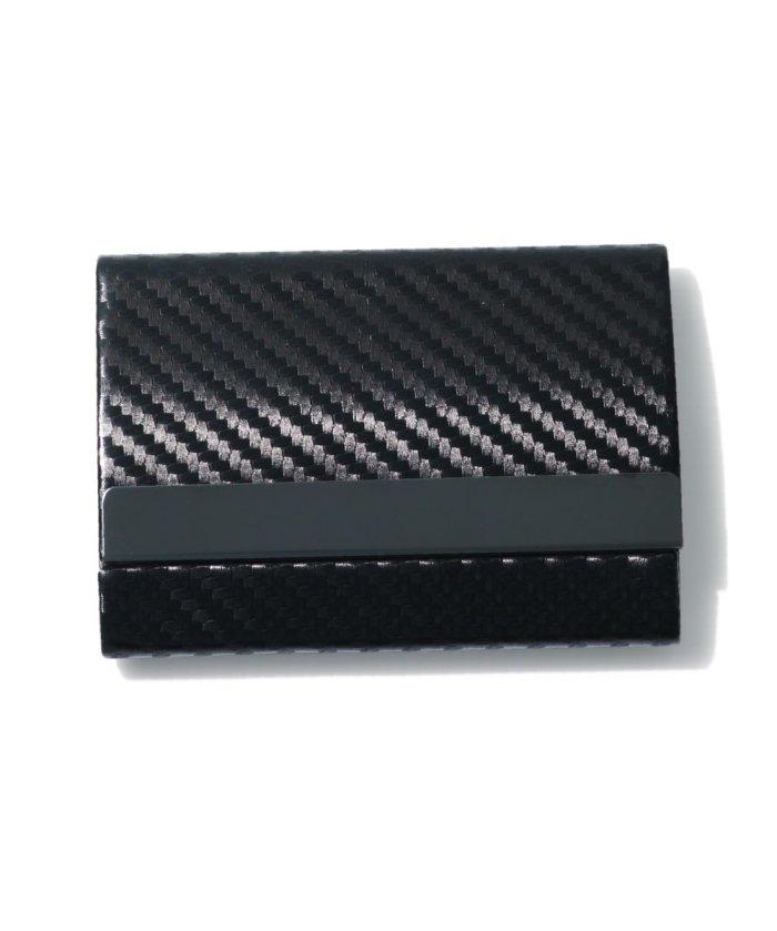 エクレボ カードケース メンズ スキミング防止「 両面収納 カーボンレザー 名刺入れ 」スリム レディース おしゃれ ピンク クレジットカード 磁気防止 ハードケース 大 ユニセックス ブラック MMM 【exrevo】