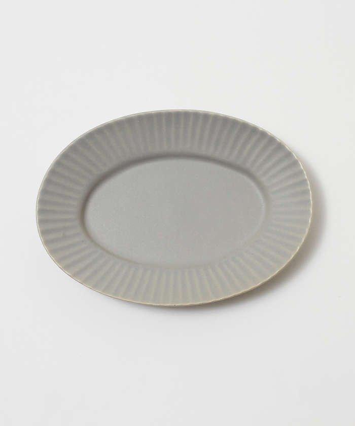 collex 《一部別注カラー》SAKUZAN 作山窯 StripeオーバルプレートS レディース グレー F 【collex】