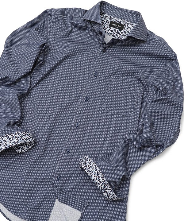 メンズビギ <EUSEBIO(エウセビオ)>幾何学模様カッタウェイシャツ メンズ ネイビー 01(S) 【Men's Bigi】
