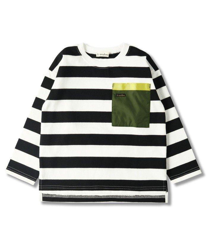 【50%OFF】 ブランシェス 配色ポケット長袖Tシャツ キッズ ボーダー 80cm 【branshes】 【セール開催中】