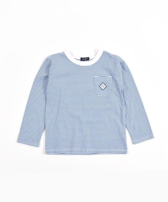 べべオンラインストア 刺繍 ワッペン付き ボーダー Tシャツ(80〜150cm) キッズ ブルー系 130cm 【BEBE ONLINE STORE】