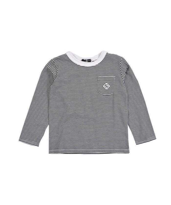 べべオンラインストア 刺繍 ワッペン付き ボーダー Tシャツ(80〜150cm) キッズ ブラック系 130cm 【BEBE ONLINE STORE】