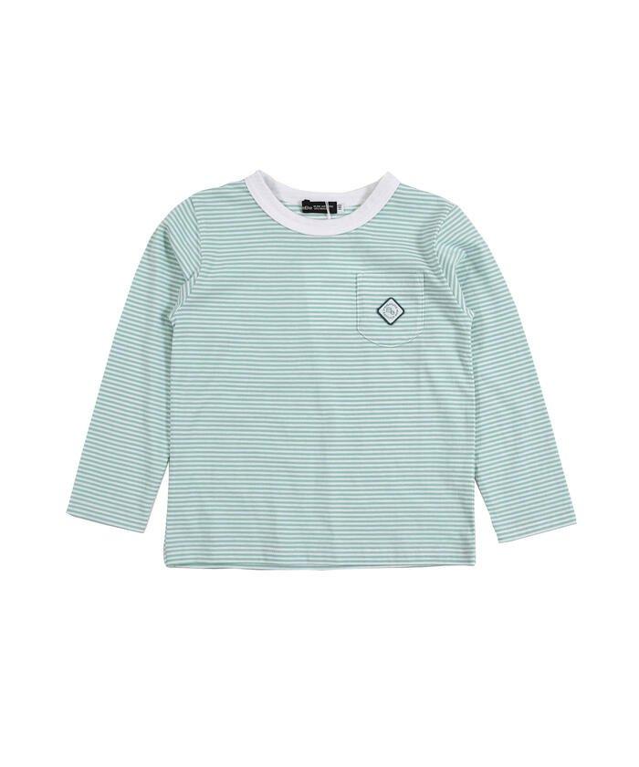 べべオンラインストア 刺繍 ワッペン付き ボーダー Tシャツ(80〜150cm) キッズ グリーン系 80cm 【BEBE ONLINE STORE】