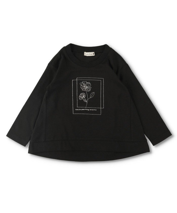 【60%OFF】 ブランシェス 花刺繍長袖Tシャツ キッズ ブラック 80cm 【branshes】 【セール開催中】