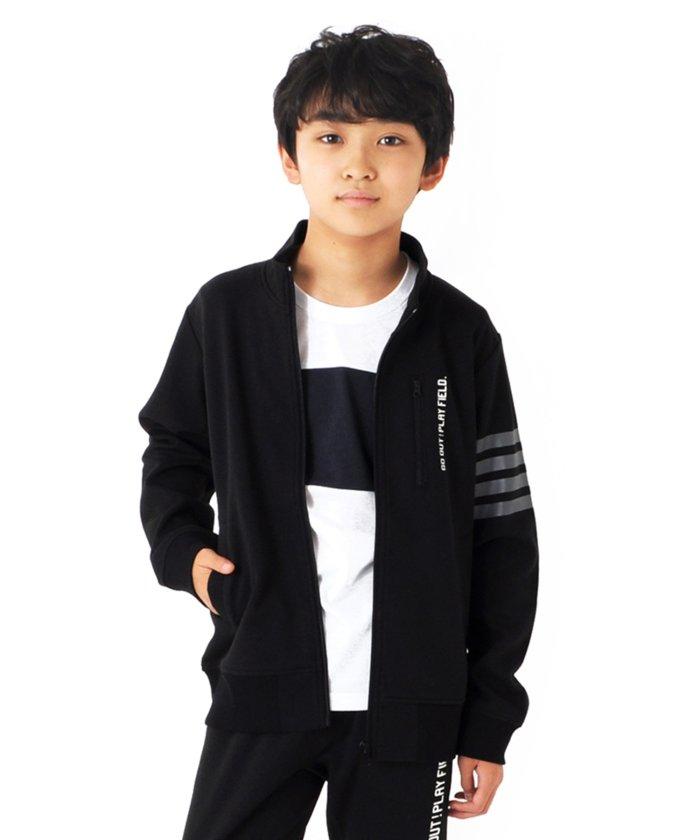 グラソス 裏毛・袖ラインプリントジップアップジャケット(クロ) キッズ ブラック 160cm 【GLAZOS】