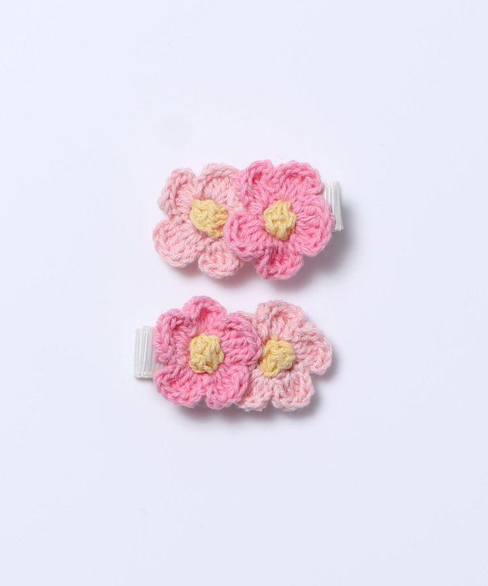 ケーピー KPDECO(ケーピーデコ)手編みのお花のヘアクリップ同色2個セット キッズ ピンク Free 【KP】