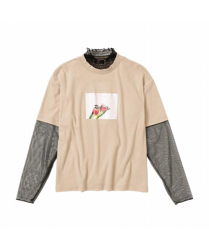 マックハウス RICH MIX リッチミックス チュールレイヤードTシャツ 335572006 キッズ ベージュ 150cm 【MAC HOUSE】