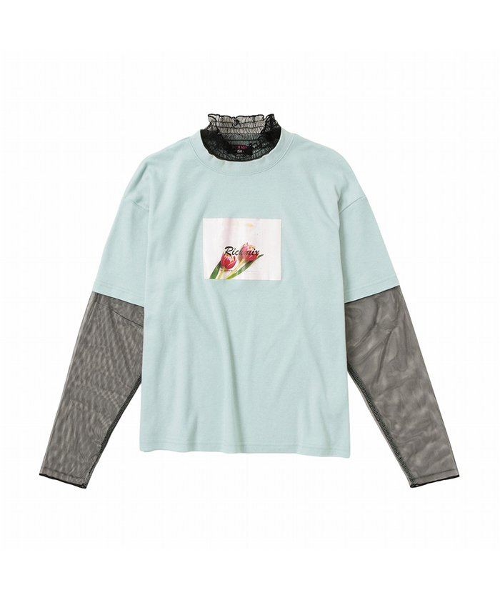 マックハウス RICH MIX リッチミックス チュールレイヤードTシャツ 335572006 キッズ ミント 160cm 【MAC HOUSE】