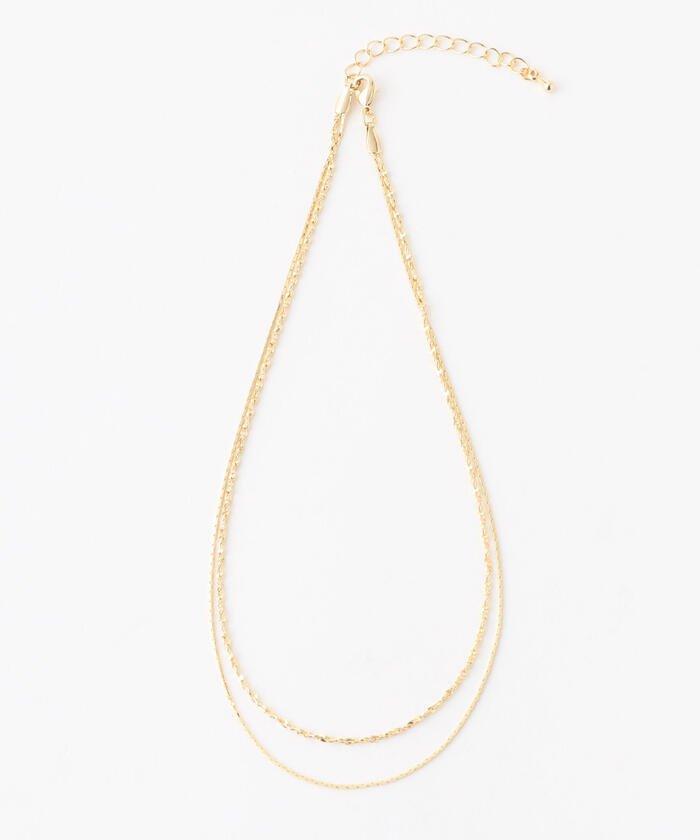 ミューズ リファインド クローズ シンプル2連ネックレス レディース ゴールド F 【MEW'S REFINED CLOTHES】