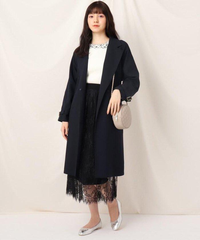 【20%OFF】 クチュールブローチ オーガンジーバックフレアコート レディース ネイビー(093) 40(L) 【Couture Brooch】 【セール開催中】