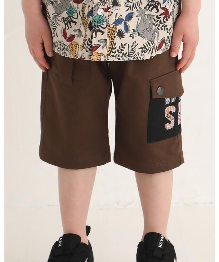 【30%OFF】 べべオンラインストア 5.5分丈 ポケット ロゴ サファリ ツイル パンツ (100~160cm) キッズ ブラウン 120cm 【BEBE ONLINE STORE】 【セール開催中】