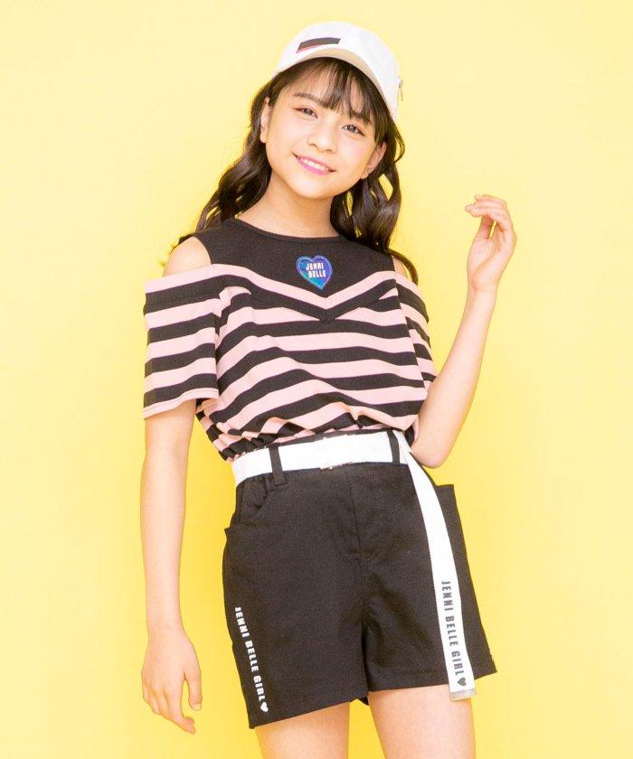ジェニィ 肩あきレイヤードボーダーTシャツ キッズ ピンク 130 【JENNI】