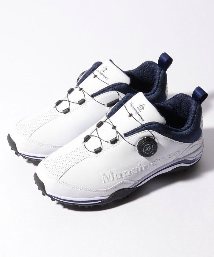 マンシングウェア ゴルフシューズ(スパイク・ワイヤーロック式) メンズ ホワイト系 260 【Munsingwear】