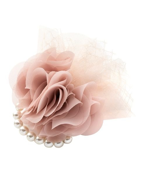 クリームドット パールラインとチュールを飾った上品なフラワーコサージュ レディース ピンク ワンサイズ 【cream dot】