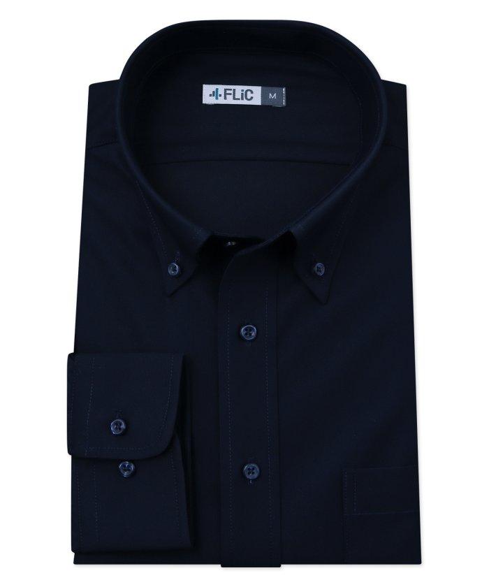 フリック 時短シャツ ノーアイロン ワイシャツ ニットシャツ ストレッチ ポロシャツ メンズ シャツ ビジネス ボタンダウン ネイビー yシャツ カッターシャツ 長袖 吸 メンズ その他 3L(86) 【FLiC】