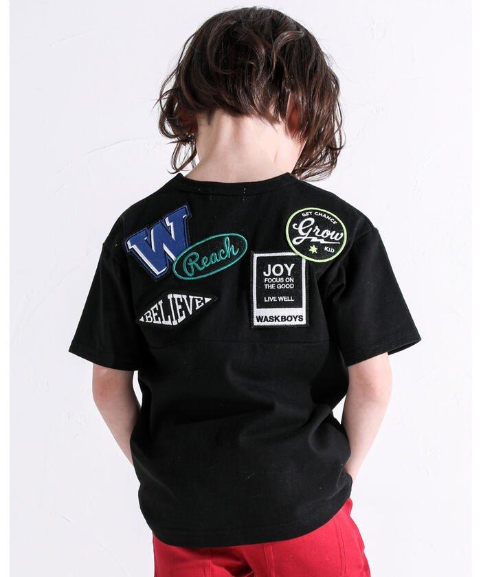 べべオンラインストア ワッペン付き ワイド 半袖 Tシャツ (100~160cm) キッズ ブラック 140cm 【BEBE ONLINE STORE】
