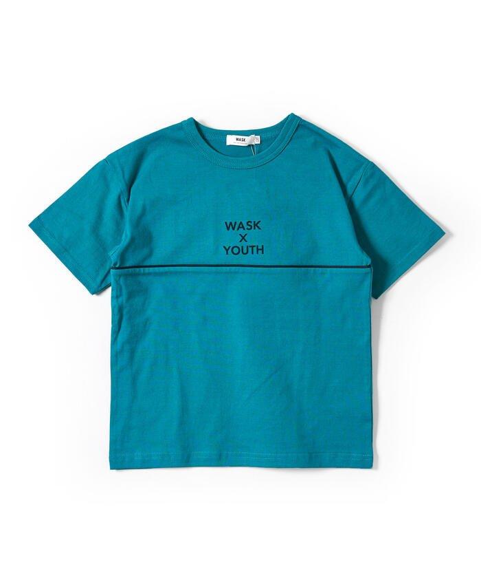べべオンラインストア ワッペン付き ワイド 半袖 Tシャツ (100~160cm) キッズ グリーン 100cm 【BEBE ONLINE STORE】