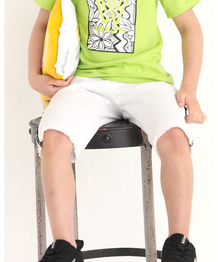 【30%OFF】 べべオンラインストア 5.5分丈 裾 ファスナー デニム パンツ(100~160cm) キッズ ホワイト 100cm 【BEBE ONLINE STORE】 【セール開催中】
