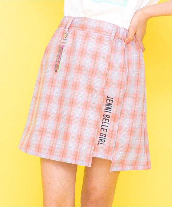 ジェニィ チャーム付きチェックスカート キッズ ピンク 150 【JENNI】