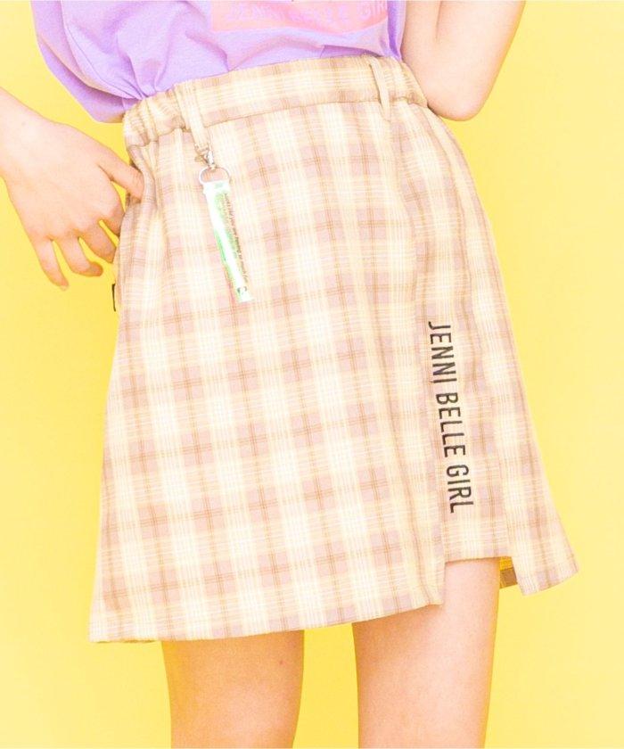 ジェニィ チャーム付きチェックスカート キッズ ベージュ 130 【JENNI】