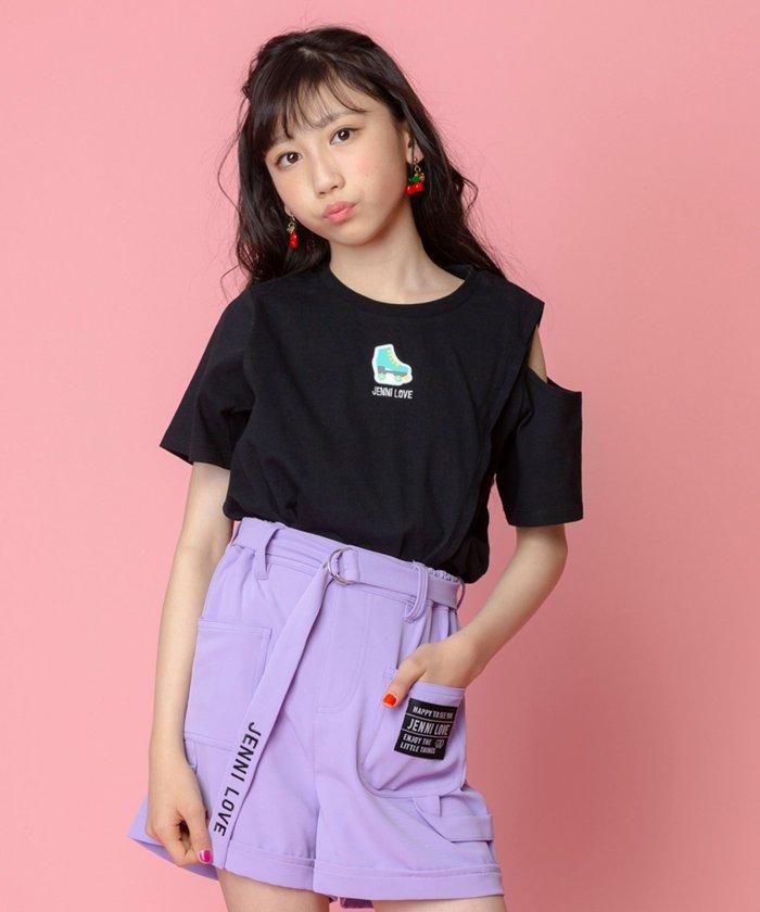 ジェニィ 肩あきアシメTシャツ キッズ ブラック 130 【JENNI】